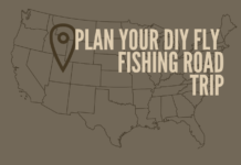 Shows viewers a map of a fly fishing road trip location.