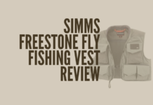 Show the viewers what the Simms Freestone Fly Fishing vest looks like.